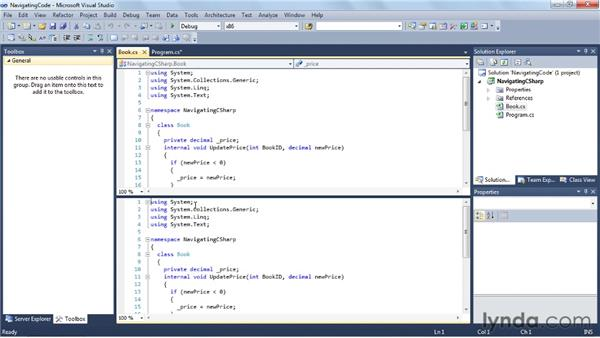 Navigating your code: Visual Studio 2010 Essential Training