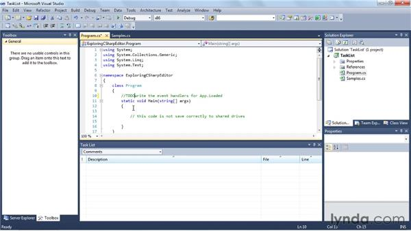 Using the Task List: Visual Studio 2010 Essential Training