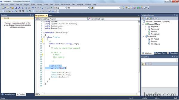 Commenting your code: Visual Studio 2010 Essential Training