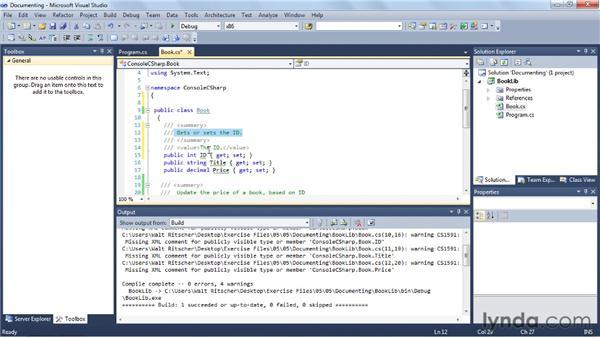 Documenting your code: Visual Studio 2010 Essential Training
