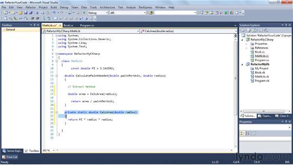 Refactoring your code: Visual Studio 2010 Essential Training