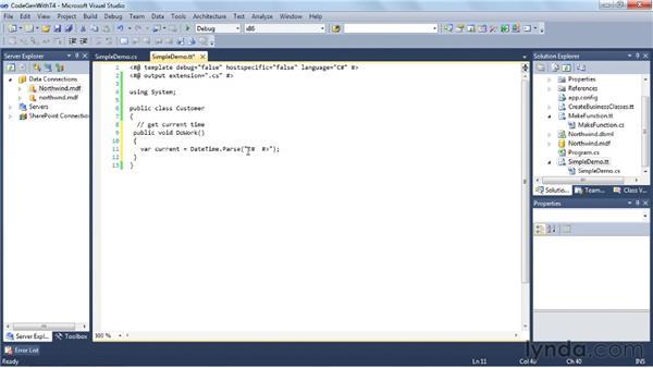 Generating code with T4: Visual Studio 2010 Essential Training