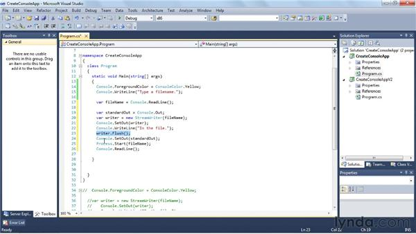 Creating a console application: Visual Studio 2010 Essential Training