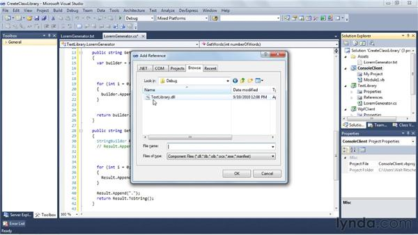 Creating a class library: Visual Studio 2010 Essential Training