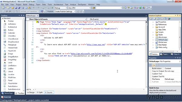 Creating a web site with ASP.NET: Visual Studio 2010 Essential Training