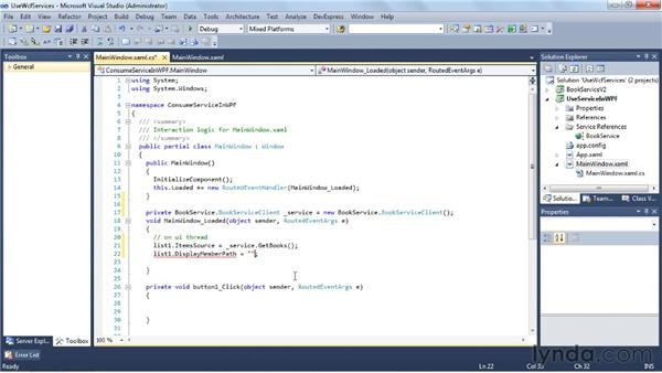 Using an existing WCF service: Visual Studio 2010 Essential Training