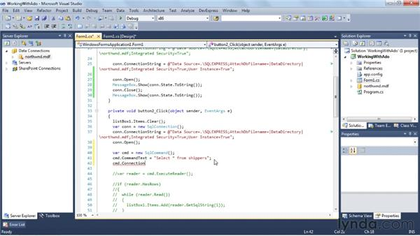 Using ADO.NET in your application: Visual Studio 2010 Essential Training