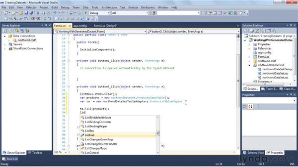 Creating typed datasets: Visual Studio 2010 Essential Training