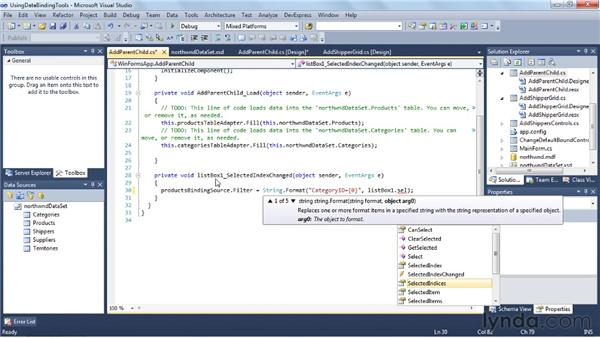 Using the data binding tools: Visual Studio 2010 Essential Training
