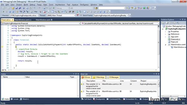 Debugging code: Visual Studio 2010 Essential Training