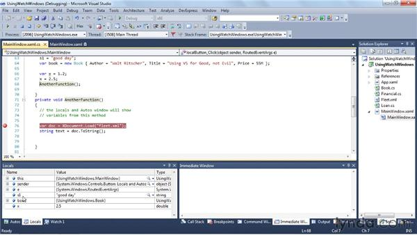 Working with the Watch and other debug windows: Visual Studio 2010 Essential Training