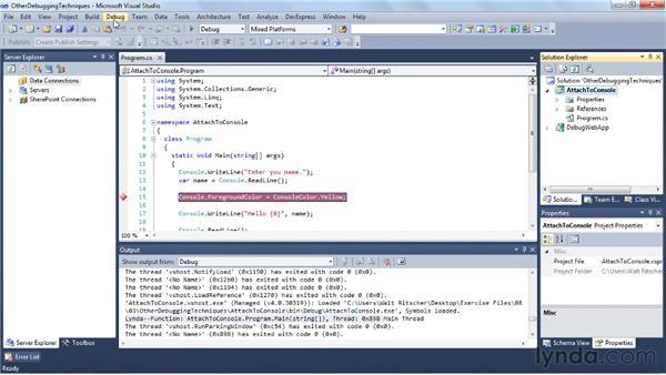 Other debugging techniques: Visual Studio 2010 Essential Training