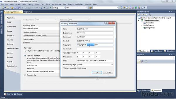 Setting assembly information: Visual Studio 2010 Essential Training