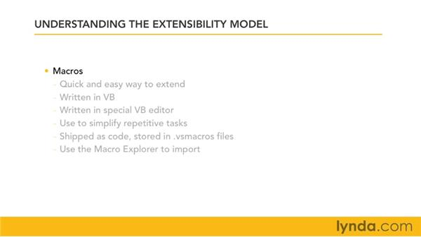 Understanding the extensibility model in Visual Studio: Visual Studio 2010 Essential Training