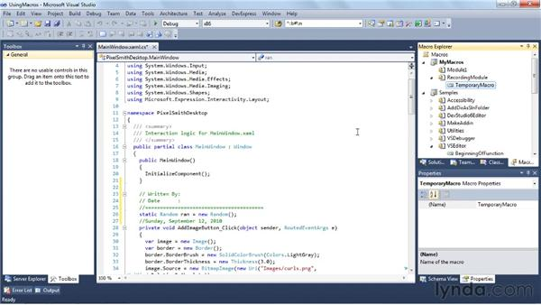 Creating macros: Visual Studio 2010 Essential Training