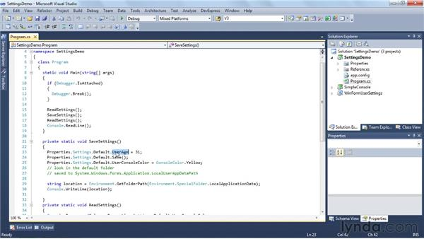 Using the Settings Editor: Visual Studio 2010 Essential Training
