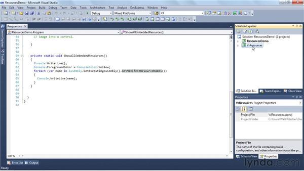 Using the Resources Editor: Visual Studio 2010 Essential Training