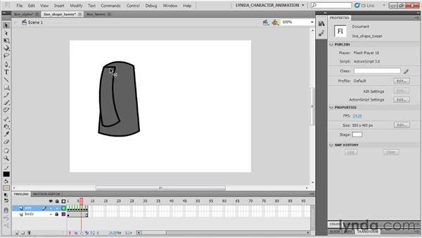 Understanding line tool drawbacks when animating: Flash Professional CS5: Character Animation