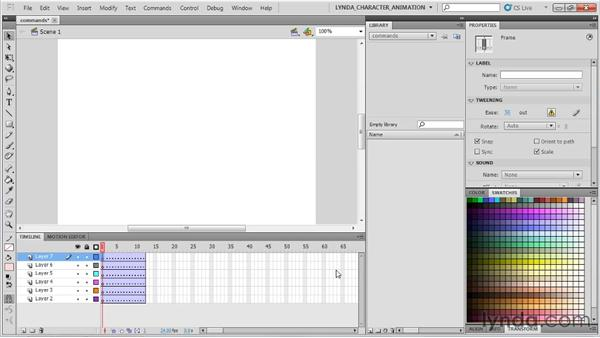 Using commands and keyboard shortcuts: Flash Professional CS5: Character Animation