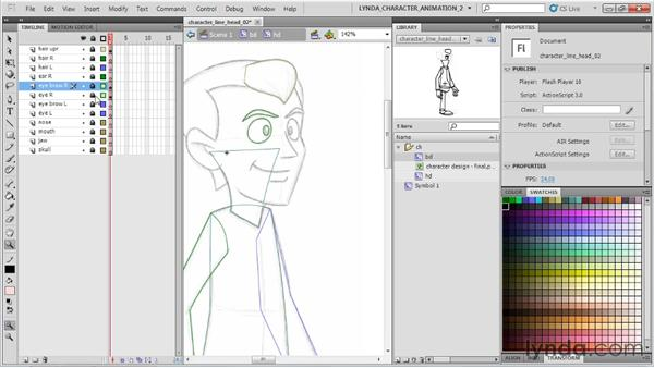 Outlining the head: Flash Professional CS5: Character Animation