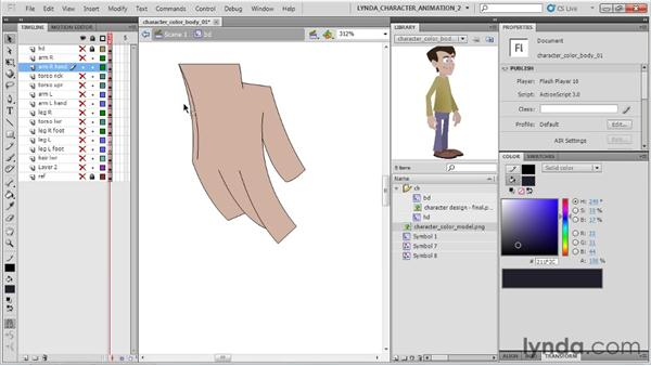 Colorizing the body: Flash Professional CS5: Character Animation