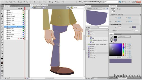 Symbolizing and pivoting the body parts: Flash Professional CS5: Character Animation