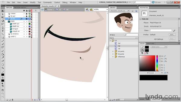 Rigging the mouth: Flash Professional CS5: Character Animation