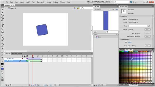 Tween types: Shape vs. motion : Flash Professional CS5: Character Animation