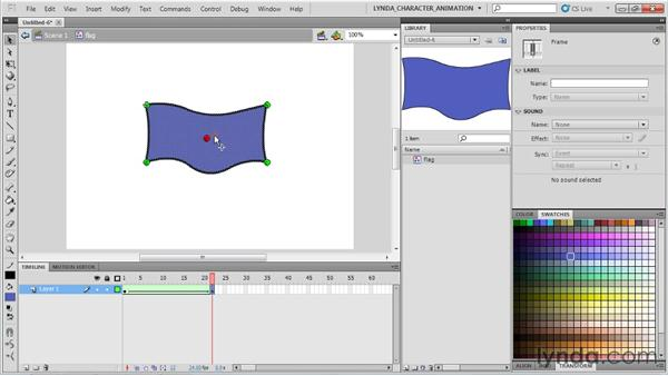Combining motion and shape tweening : Flash Professional CS5: Character Animation