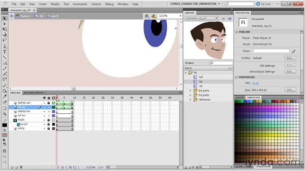 Animating an eye blink using shape tweening : Flash Professional CS5: Character Animation