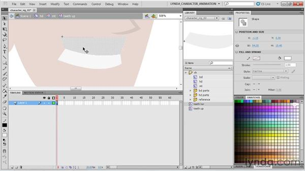 Rigging a mouth in Flash for dialogue and expressions: Flash Professional CS5: Character Animation
