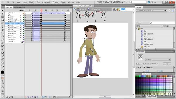 Animating the head movement: Flash Professional CS5: Character Animation