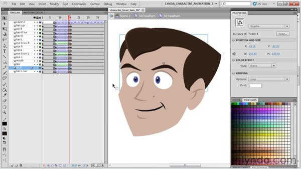 Animating the head turn: Flash Professional CS5: Character Animation