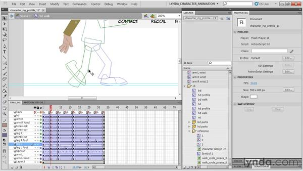 Animating the recoil position: Flash Professional CS5: Character Animation