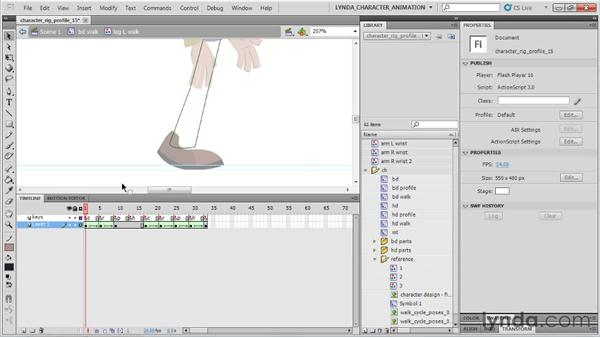 Animating the shoes: Flash Professional CS5: Character Animation
