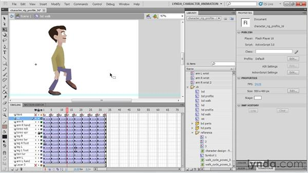 Animating the character's head movements: Flash Professional CS5: Character Animation