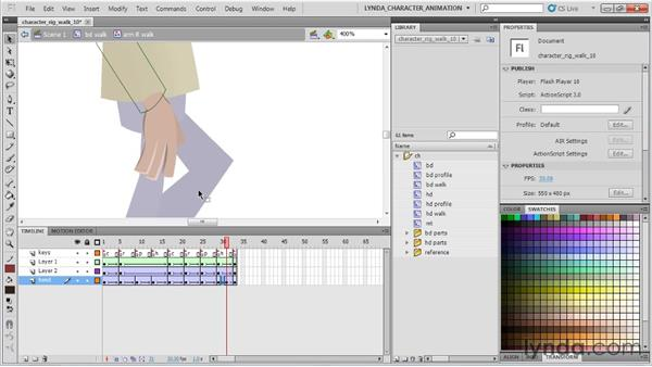 Creating secondary hand actions: Flash Professional CS5: Character Animation