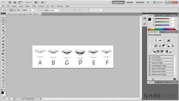 Using the A-F system of six set mouth shapes: Flash Professional CS5: Character Animation