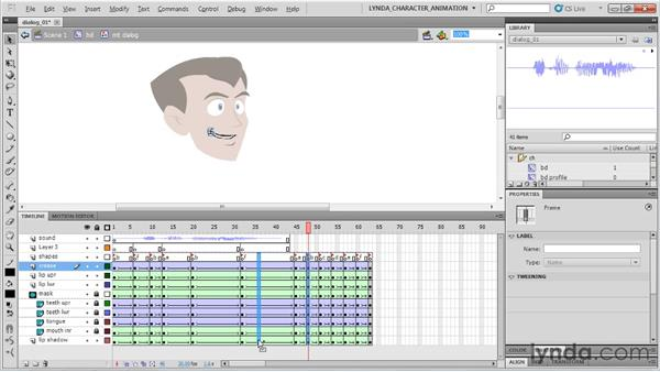 Animating dialogue using the mouth rig: Flash Professional CS5: Character Animation