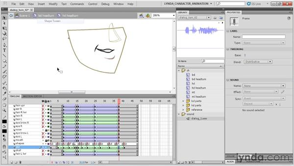 Animating the jaw: Flash Professional CS5: Character Animation