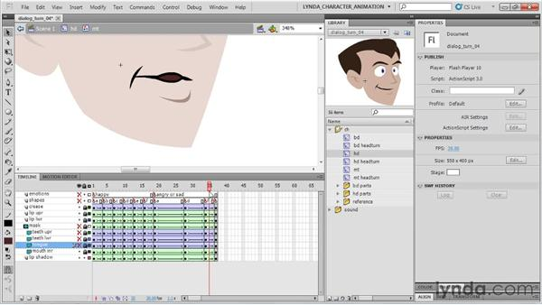 Finishing the angry dialogue mouth: Flash Professional CS5: Character Animation