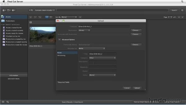 Uploading files using drag and drop: Final Cut Server 1.5 Getting Started
