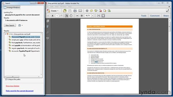 Searching a PDF and working with the Search panel: Acrobat X Essential Training