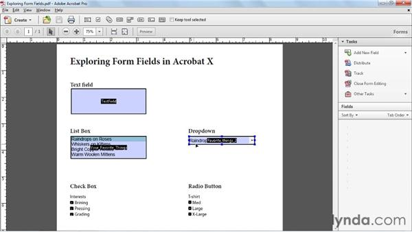 Working with form fields: Acrobat X Essential Training