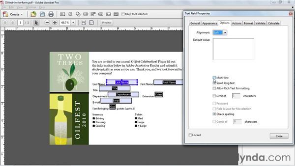 Editing field properties: Acrobat X Essential Training