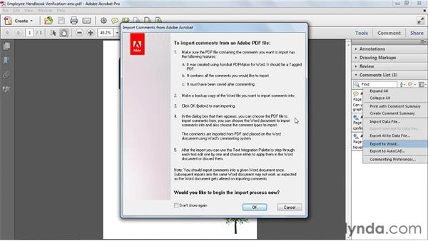 Exporting comments to Word for Windows: Acrobat X Essential Training