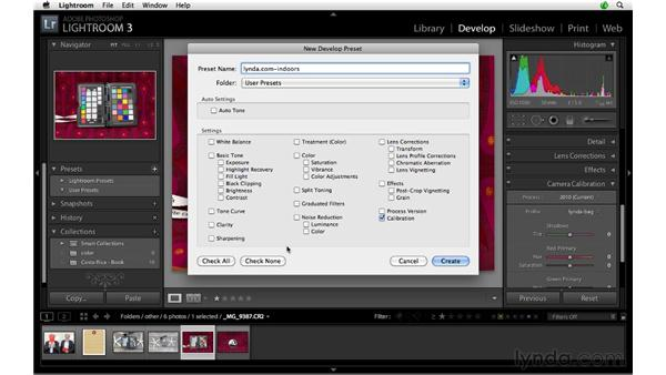 Saving a profile as a preset: Lightroom 3 Advanced Techniques
