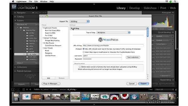 Exporting to a blog: Lightroom 3 Advanced Techniques