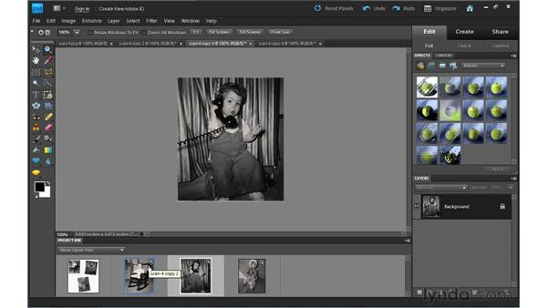 Dividing scanned photos: Photoshop Elements 9 Essential Training