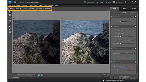 The Quick Fix interface: Photoshop Elements 9 Essential Training